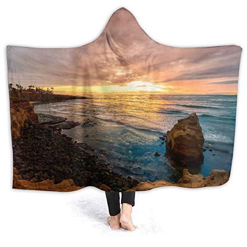 SUGARHE Tragbare Hoodie Decke,Stürmischer Wolken Sonnenuntergang an den Sonnenuntergangs Klippen San Diego,CA.,Umhang Druck Grafik warm für den Winter 60x50