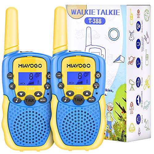 Miavogo Walkie Talkies for Kids 2 Pack, 22 Channel Two Ways radios Walky Talky with Backlit, LCD Screen & Flashlight, 3Km Long Range 2-way Radios Children Toy for Outdoor Adventure, Camping and Hiking