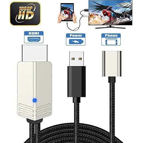 DIWUER Teléfono a HDMI Cable, Versión Mejorada 1080P Adaptador AV Digital Cable, Adaptador MHL para iPhone Android iPad a TV/Projector/Monitor