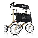 OasisSpace Aluminum Rollator Walker, with 10'' Wheels and Seat Compact Folding Design Lightweight Baking Complimentary...