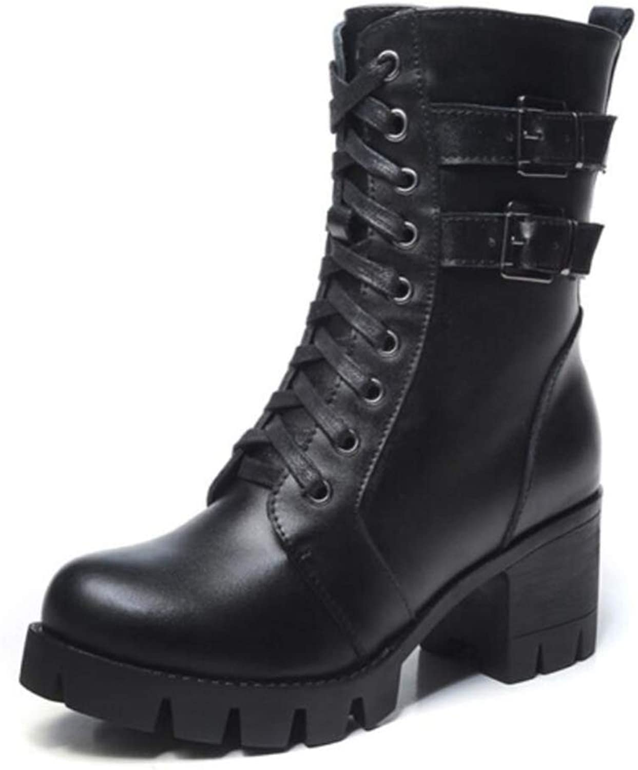 Shiney Women's Martin Boots Plus Velvet Round Head Chunky Heel Thick Leather Boots Fashion Autumn Winter Short Boots