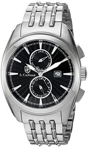 S.Coifman SC0137 Orologio da Polso, Display Cronografo, Uomo, Bracciale Rivestito in Acciaio Inox, Argento