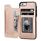 OT ONETOP iPhone 6s Wallet Case with Card Holder, iPhone 6 Case Wallet Premium PU Leather Kickstand Card Slots,Double Magnetic Clasp Durable Shockproof Cover 4.7 Inch(Rose Gold)