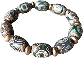 Prime Fengshui Protective Oval Green Tibetan Dzi Beads Bracelet Amulet Bangle Attract Positive Energy and Good Luck