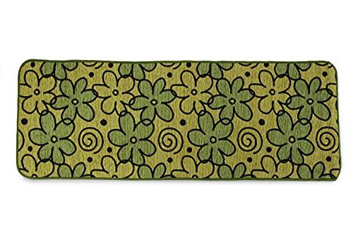 HomeLife Tappeto Cucina Antiscivolo Lavabile Lungo 55X190 Made in Italy | Passatoia Moderna in Ciniglia con Fantasia a Fiori | Tappeto Runner Lungo Colorato [55X190, Verde]