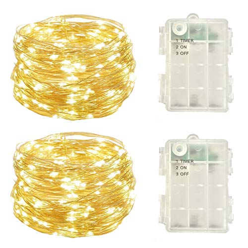 2 Pack Battery Operated Mini Led Fairy Light Dewdrop Lights with Timer 6 Hours on/18 Hours Off for Spring Wedding Party Lighting Decorations50 LEDs18 Feet Silver Wire Warm White