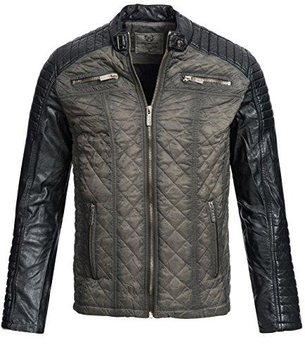 Redbridge Herren Übergangsjacke Frühlingsjacke Gesteppte Jacke Biker Jacke mit Kunst- Lederärmeln M6012 Khaki Gr. L