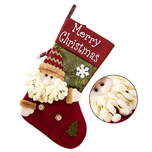 Kerstkous voor open haard Sinterklaarzen om te vullen geschenken kous 35 cm voor kinderen Kerstman sneeuwman
