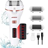Electric Foot Callus Remover Kit, Aottom Rechargeable Pedicure Tools Professional Feet Care With 3 Roller Heads, 2 Speed, Battery Display for Remove Calluses, Dead, Hard Cracked Dry Skin