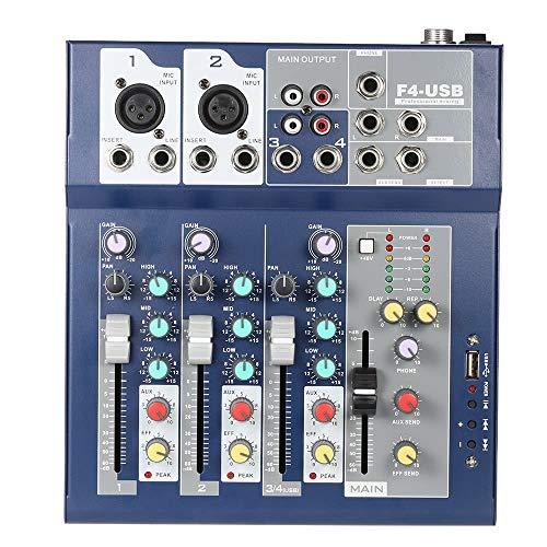 Tarjeta de sonido Profesional del metal de 4 canales en vivo mezclador Consola de mezcla de 3-Band EQ Función USB 48V Phantom con Bulit-en efecto Procesador de entrada de micrófono Interfaz de Audio U