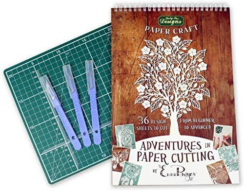Papierschneidekit Serie 1, Papercut-Vorlagen, Designs und Muster - Perfekt für Anfänger: Verwandeln Sie ein einzelnes Stück Papier in ein Kunstwerk - Teil der Adventures-Serie von Emma Boyes