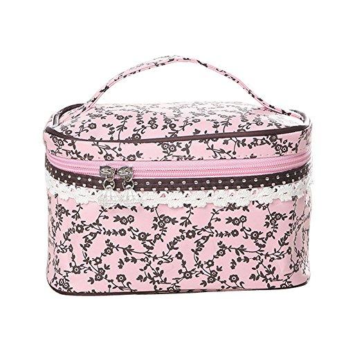 Qearly Nettoyable et Durable Trousse de Toilette/Étui à Accessoires de Toilette/Zipper Sac/Toiletry Bag-Rose