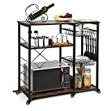 bigzzia Wood Kitchen Baker's Rack Utility Microwave Oven Stand Storage Cart Workstation Shelf with Wire Basket and 6 Hooks