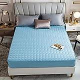 HPPSLT Protector de colchón - óptimo antiácarosSábana de Cama Color Puro de una Sola Pieza Pure Cotton-Water Blue_200 * 220cm