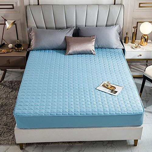 HPPSLT Protector de colchón - óptimo antiácarosSábana de Cama Color Puro de una Sola Pieza Pure Cotton-Water Blue_120 * 200cm
