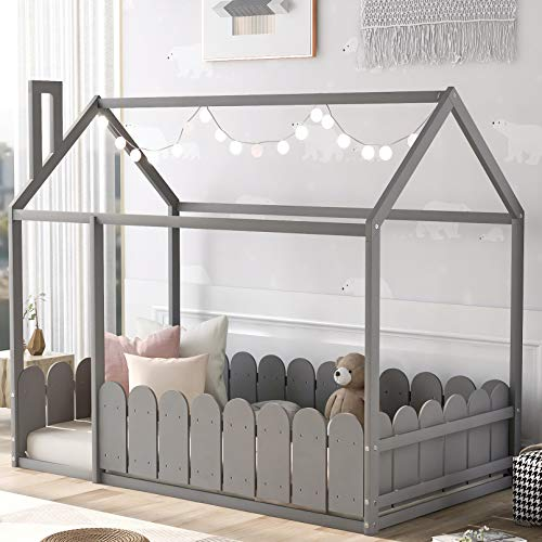 House Bed Twin Size Kids Bed Frame with Roof and Fence, Box Spring Needed (Grey)