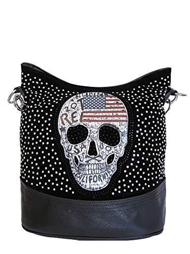 Jn Gianni Damen Handtasche Totenkopf mit Nieten und Strass Schultertasche USA Skull Tasche NEU (Schwarz)
