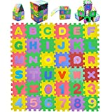 Ynanimery Baby Foam Playmat - 36 Tiles ABC Foam Mats for Floor Playing & Puzzles - Kids Learn & Play with Interlocking Puzzle Mats Included Alphabet & Numbers & Interlocking Puzzle