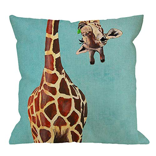 HGOD DESIGNS Giraffe Throw Pillow Cushion Cover,Funny Giraffe Licking Head Cotton Linen Polyester Decorative Home Decor Sofa Couch Desk Chair Bedroom 18x18inch Square Throw Pillow Case,Blue,Brown