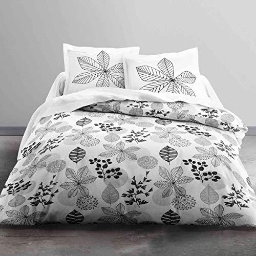 Today HC3 Enjoy Tourmaline – Juego de cama 2 personas y 2 fundas de almohada, algodón, color blanco/negro, 220 x 240 cm