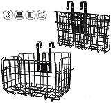 Plegable de la Cesta Posterior de la Bicicleta Malla de Alambre Plegable Desmontable Bolsa Delantera Colgante Trasero Cesta de Bolsa de Bicicleta Multifuncional Estante de Carga para Accesorios ,Negro