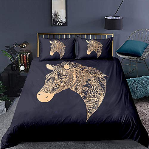 ZXXFR Duvet Cover Set Printed Simple animal golden horse,Bedding Quilt Cover Soft Breathable for Girls Boys 3 Pieces (1 Duvet Cover + 2 Pillow cases)-UK Single 140x200CM
