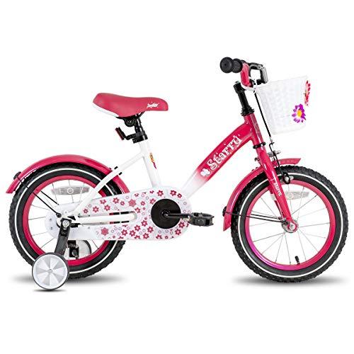 JOYSTAR 16 Inch Kids Bike with Hand Brake and Basket for 4 5 6 7 Years Girls, 16' Chilren Bike with Training Wheels and fenders, Fuchsia…