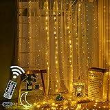 Bestine 300 LED Lichterketten 3mx3m Feenvorhangleuchten 8 Modi Fernbedienung wasserdichte Fensterleuchten für Außen Innen Schlafzimmer Hochzeitsdekorationen Party Pavillon Garten