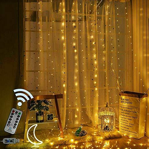 300 Led Cadena Cortina Luz, 3m X 3m Luces Cortina Hadas 8 Modos Control Remoto Luces Ventana a Prueba Agua para Decoraciones Boda Dormitorio Interior Al Aire Libre Gazebo Garden Fiesta
