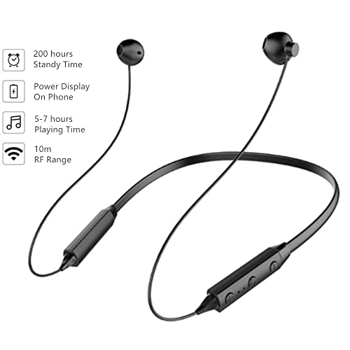 Bluetooth Headphones V4.2 Stereo Magnetic Neckband Wireless Earphones Noise Reducing Sweatproof Sport Headset with Mic for iPhone x 8 7 6/iPad/ PC/Samsung/Huawei/SONY/Nexus/HTC/LG and More (Black)