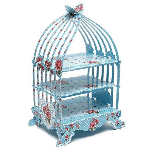 Vintage Bleu Cage à oiseaux support à cupcake – British Rurales Série papier décor pour fêtes et occasions spéciales par Trimming Shop®