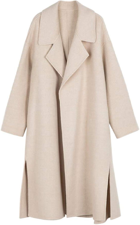 DFUCF Women's Woolen Coat Thicken Loose Long Pea Coat Winter Cardigan Overcoat