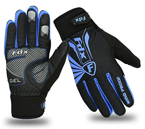 FDX Cycling Gloves Winter Cold Weather Windproof Full Finger Touch Screen Gloves (Black/Blue, Medium)