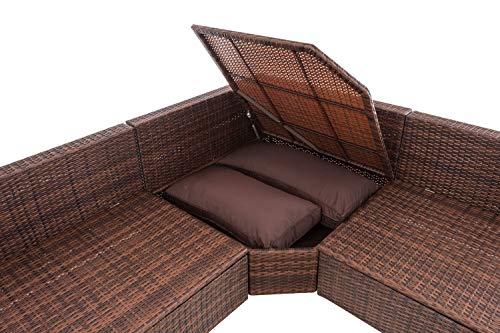 CLP Polyrattan Ecksofa Tibera I Gartensofa Mit 5 Sitzplätzen I Loungesofa Aus Flachrattan Inkl. Kissen I Gartengarnitur Mit Stauraum terrabraun, Braun Meliert - 5