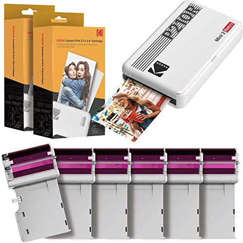 Kodak Mini 2 Stampante foto per cellulare, 6 Cartucce incluse, Istantanee formato 54x86mm, Bluetooth, Wireless, Portatile e compatibile iOS e Android