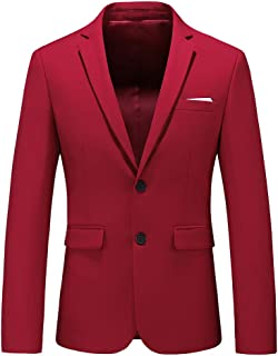 UNINUKOO Mens Casual Two Button Suit Jacket Single Breasted Modern Wedding Tux Blazer US Size 38 (Label Size 3XL) Red
