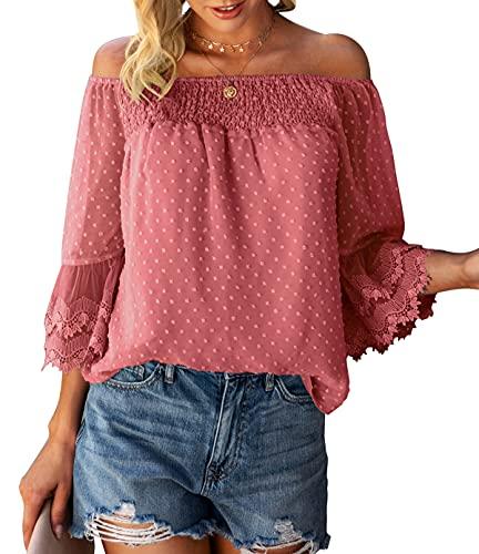 Bequemer Laden Damen Sommer Off Shoulder Oberteile 3/4 Ausgestellte Ärmel Polka Dot Casual Tuniken Bluse T-Shirt Top,Orange,L