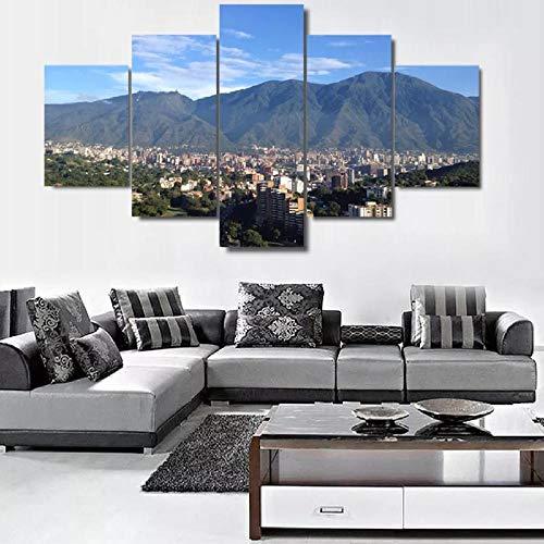 Arte sobre lienzoConstruyendo alrededor de la montaña Cuadro en Lienzo Impresión de 5 Piezas Material Tejido no Tejido Impresión Artística Imagen Gráfica Decoracion de Pared Con marco ZTXZ 100x55cm