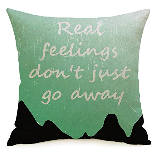 Decorative Linen Square Throw Pillow Cover Green Cloth Always Cool Awesome Slogan Graphics Design Various Best Calm Carry Stay College Day Modern Design Cushion Case for Car Bed 16 x 16 Inch