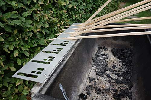 Kirschner Metallbau Spießhalter Steckerlfisch Grillaufsatz Fisch Halter Fischgrill VA Holzkohlegrill Gasgrill (Spießhalter Flach (4-Fische))