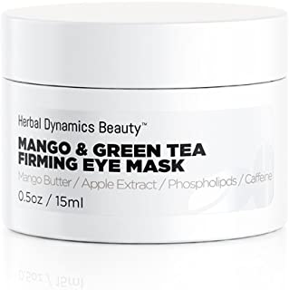 HD Beauty Mango & Green Tea Firming Eye Mask with Mango Butter, Apple Extract and Caffeine For Dark Circles, Fine Lines, Puffiness and Under Eye Treatment 0.5 oz.