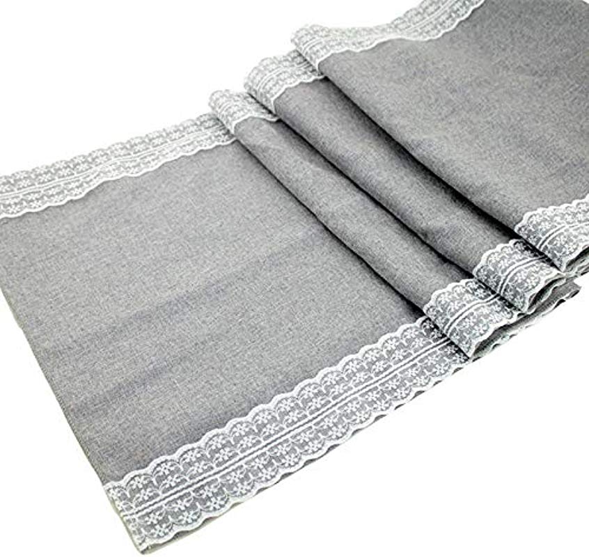 108x12 Inch Gray Table Runner Burlap Lace Table Runner Modern Farmhouse Linen Burlap Table Runner Table Runner White Lace Jute Christmas Burlap Lace Table Runners For Weddings