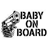 Two (2) Baby On Board Gun Cartoon Sicker Decal Laptop Car Bumper Truck Door Window Shop