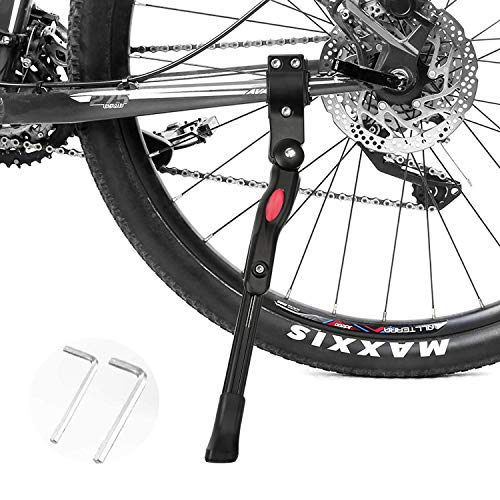 自転車キックスタンド サイドスタンド 片足 サイドスタンド 自転車 スタンド 長さ調整可能 20~27対応 軽量 汎用ママチャリ/ロードバイク/クロスバイク/マウンテンバイク/MTB等用 黒