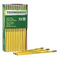 TICONDEROGA グラファイト鉛筆 ウッドケース #2 HBソフト 消しゴム付き イエロー (33904) 144-Pack