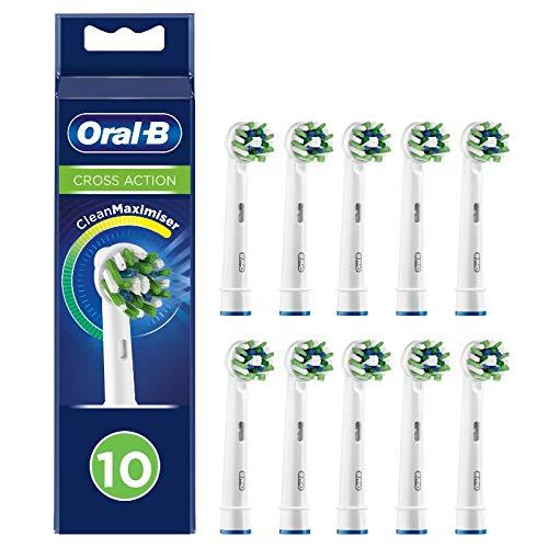 Oral-B CrossAction Aufsteckbürsten mit CleanMaximiser-Borsten für ganzheitliche Mundreinigung, 10Stück