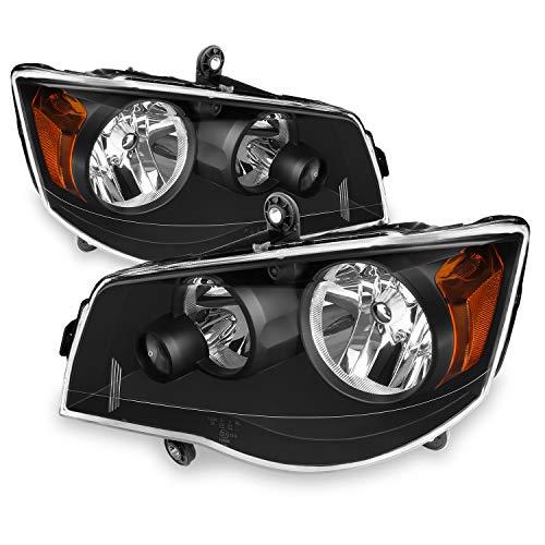 For 2008-2016 Chrysler Town & Country   11-19 Dodge Grand Caravan Black Headlights Headlamps Left + Right