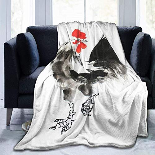 Manta personalizada, pintura de tinta china, suave y cómoda manta de felpa para sofá, dormitorio, viajes, manta esponjosa de 102 x 122 cm