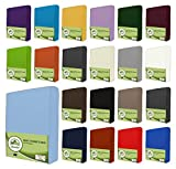 leevitex® Sábana bajera ajustable, 100% algodón, en muchos tamaños y colores, calidad de marca Öko-Tex Standard 100, color azul claro, 180 x 200 - 200 x 200 cm