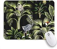VAMIX マウスパッド 個性的 おしゃれ 柔軟 かわいい ゴム製裏面 ゲーミングマウスパッド PC ノートパソコン オフィス用 デスクマット 滑り止め 耐久性が良い おもしろいパターン (花の熱帯植物ヤシの木キツネザルナマケモノオオハシと鳥)